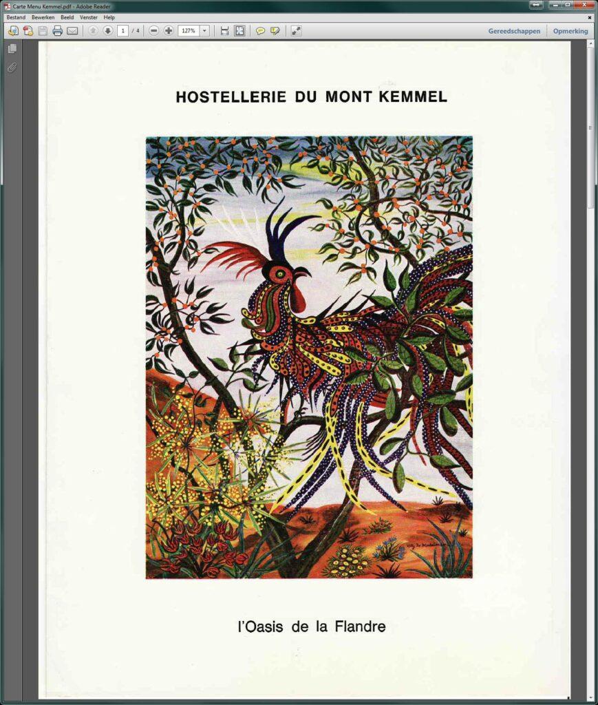 """Menukaart Hostellerie du Mont Kemmel (blz. 1). De voorkaft toont een schilderij van de hand van de toenmalige barones """"Netty"""" (Marie-Antoinette de Montalembert d'Essé (1892-1993)). [bron Véronique Geissler]"""