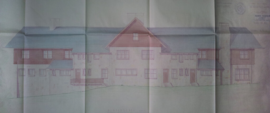 Origineel Bouwplan Hostellerkie Kemmelberg: Achtergevel
