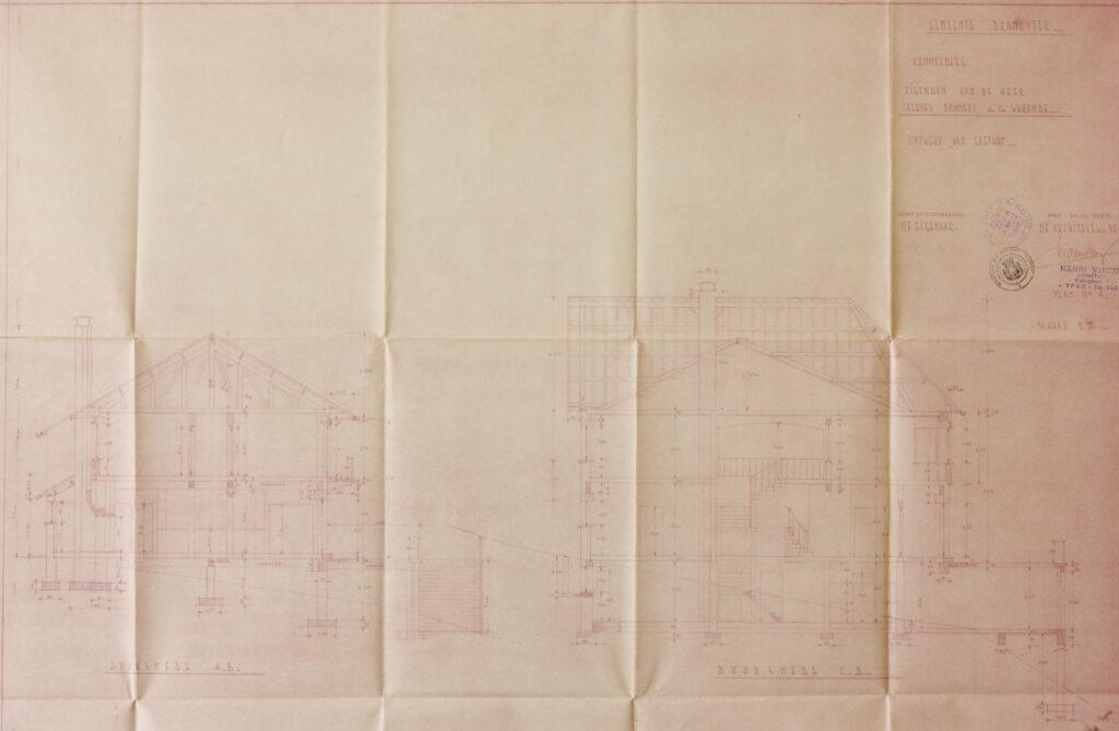 Originele bouwplannen Hostellerie Kemmelberg - dwarsdoorsnedes