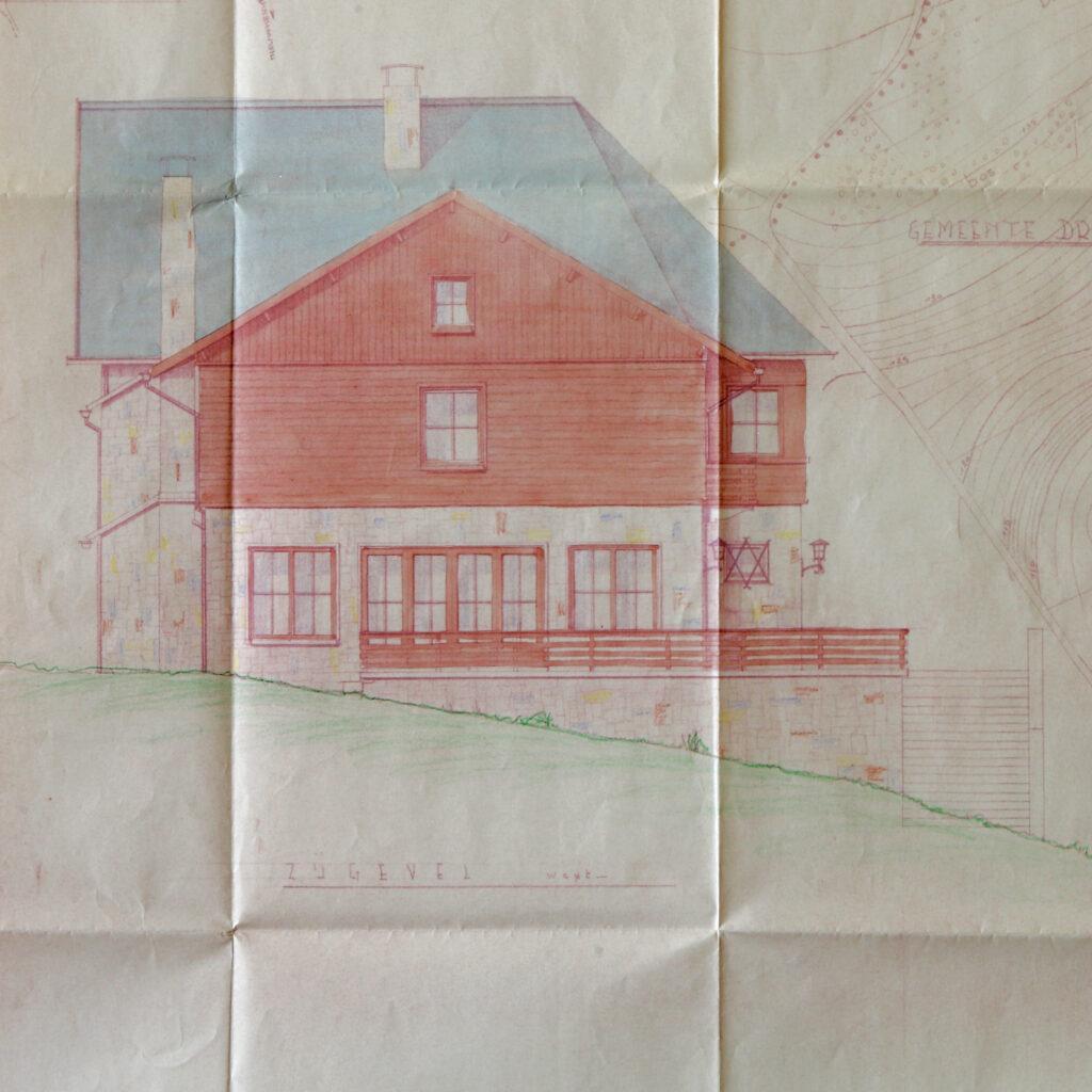 Bouwplan Hostellerie Kemmelberg: westelijke gevel (salonzijde).