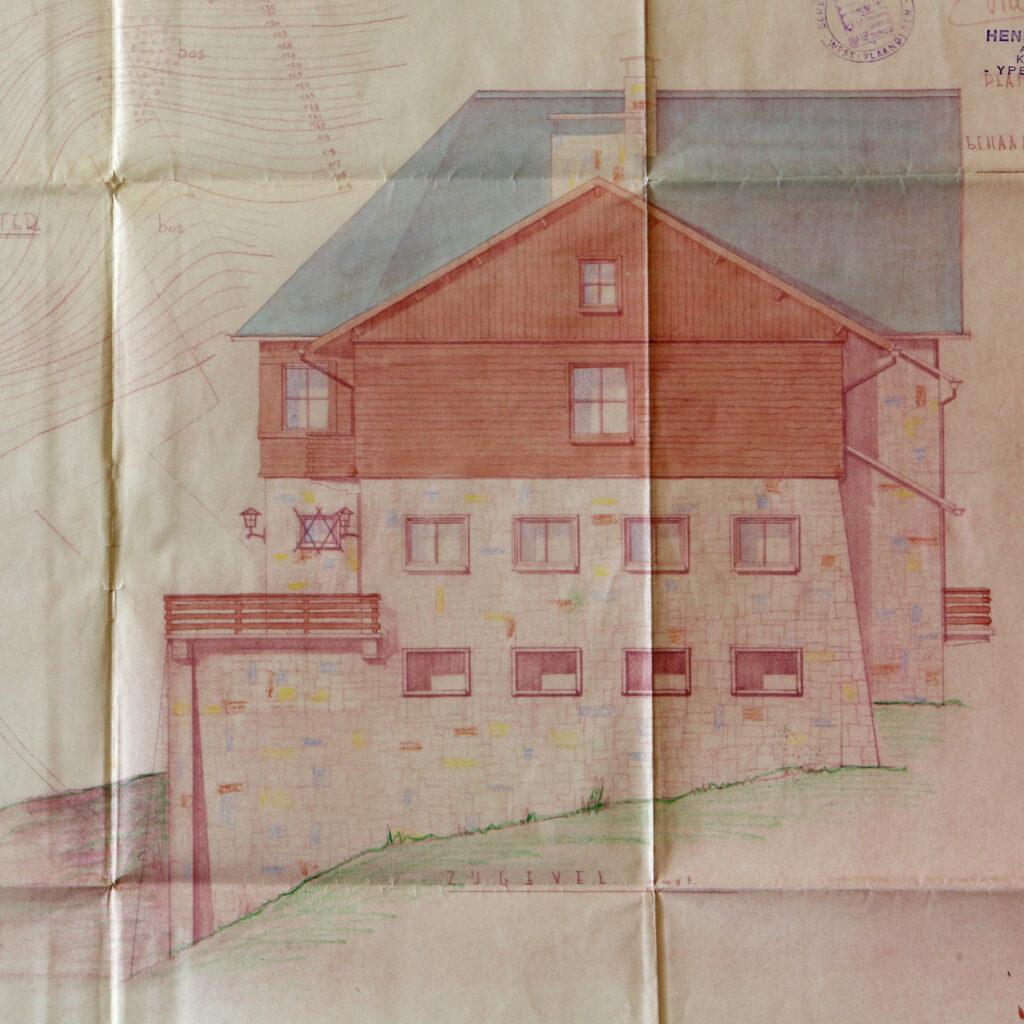 Bouwplan Hostellerie Kemmelberg: oostelijke gevel (restaurantzijde).
