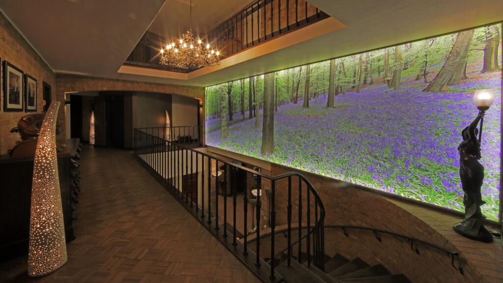 In de lobby van Hostellerie Kemmelberg **** hangt ook een indrukwekkende lichtwand met een zeer mooie foto van de boshyacinten. Deze foto meet maar liefst 8 m bij 2,5 m: dus 20 m² kijkplezier.