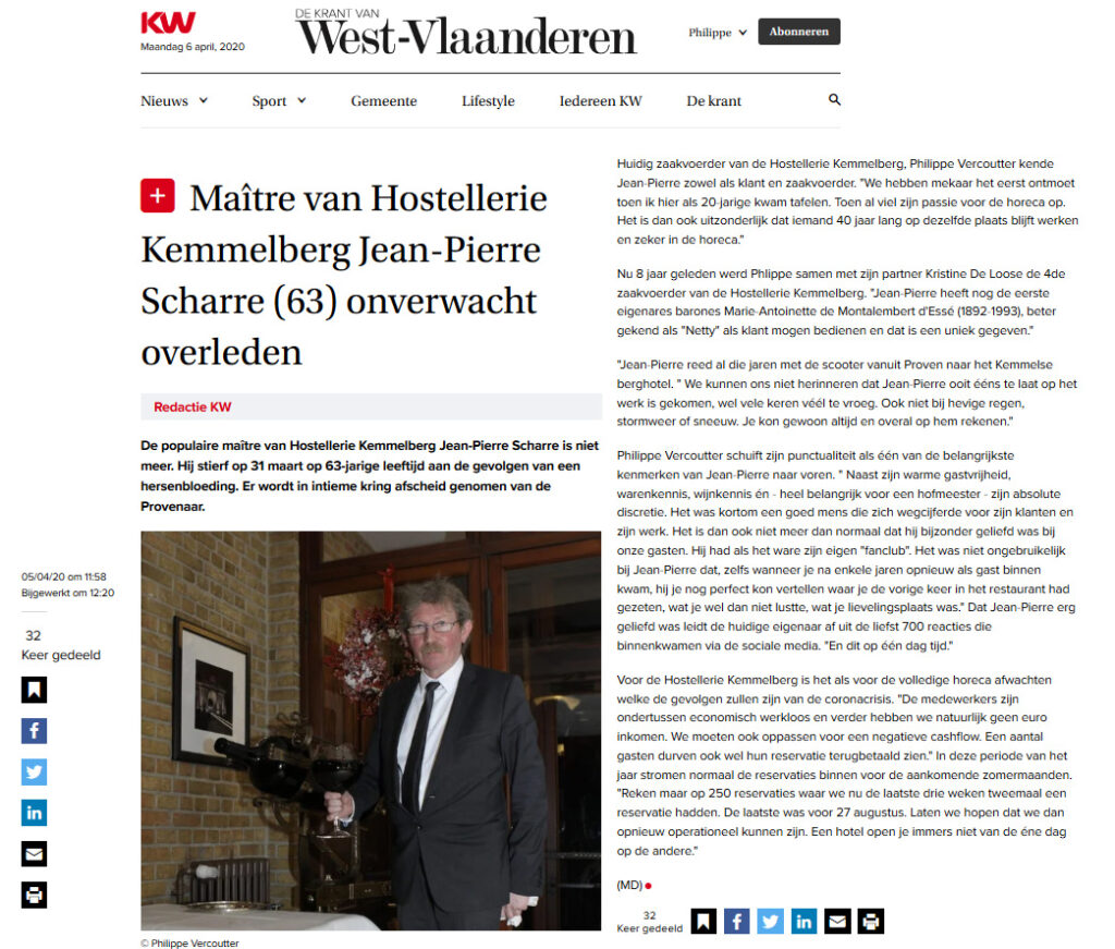 "Artikel over Jean-Pierre Scharre door journalist Marc Desender verschenen op de webstek van ""De Krant van West-Vlaanderen"" van 5 April 2020."