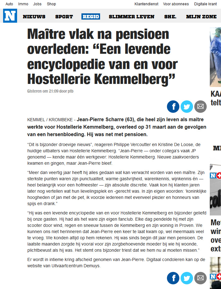 """Artikel over Jean-Pierre Scharre door journalist Thijs Pattyn verschenen op de webstek van """"Het Nieuwsblad' op 6 April 2020."""