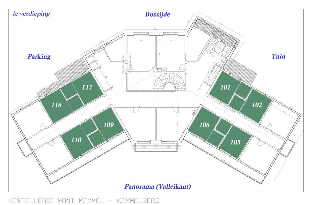 Hostellerie Kemmelberg **** heeft 4 ECO kamers aan de valleikant en 4 ECO kamers aan de boskant. Deze liggen allemaal op de 1e verdieping.