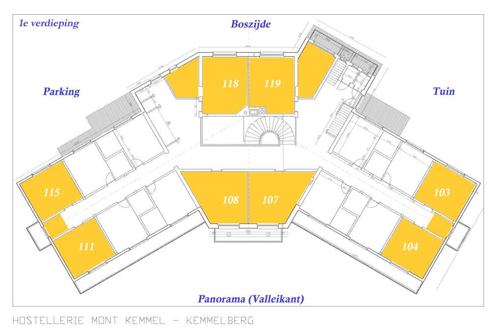 Hostellerie Kemmelberg **** heeft 4 standaard kamers (104, 107, 108 en 111) aan de valleikant en 4 standaard kamers aan de boskant (103, 115, 118 en 119). Deze liggen allemaal op de 1e verdieping.