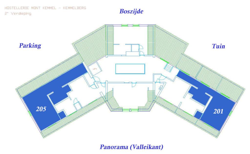 Plan VIP Kamer 201 en 205 (Valleikant, meer dan 40 m²)