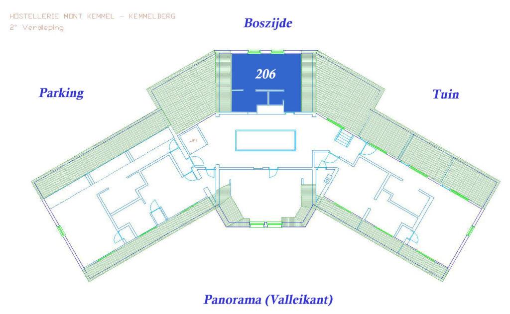 Plan VIP Kamer 206 (Boszijde, 30 m²)