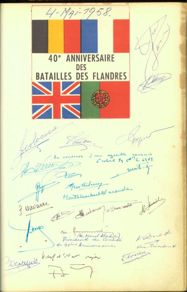 """HMK gastenboek - 40e Verjaardag van de """"Slag van Vlaanderen"""""""