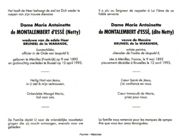 Bidprentje Marie-Antoinette de Montalembert d'Essé (12 april 1993)