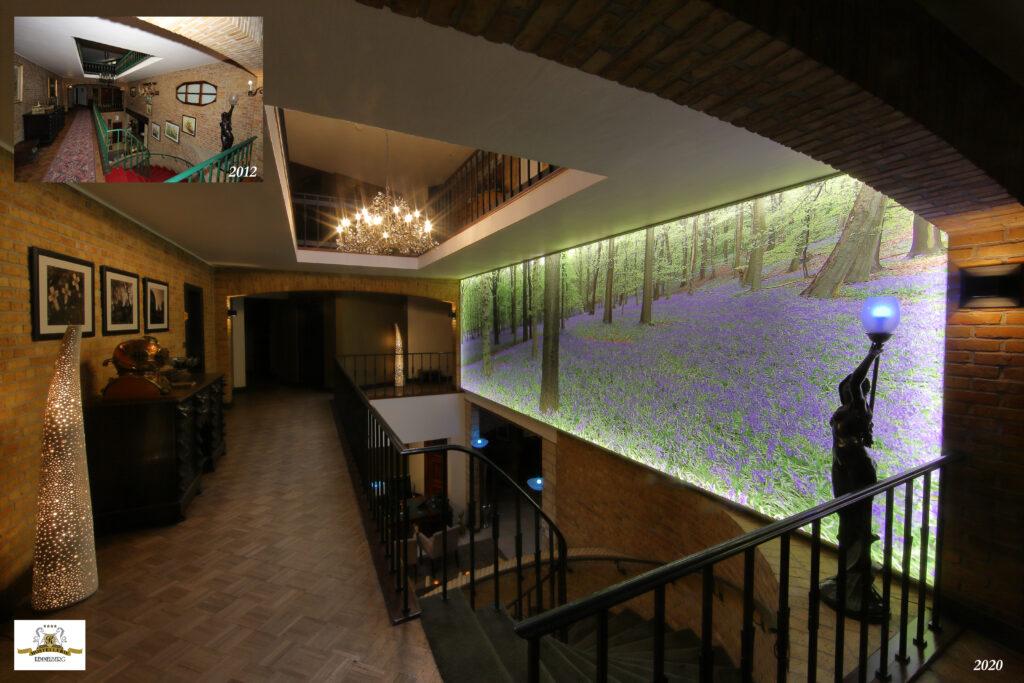 De vroeger weinig aantrekkelijke wand in de lobby werd begin 2020 voorzien van een indrukwekkende lichtwand. U kunt er nu op een reusachtige foto van maar liefst 20 m²(8 meter op 2,5 meter) de boshyacinten van de Kemmelberg aanschouwen. Ook werden moderne, veelal Philips Hue gebaseerde, LED verlichting voorzien.