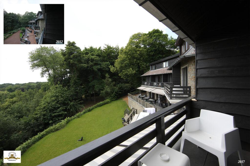Wanneer je op een van de vele balkons aan de valleikant naar buiten kijkt kun je zeer goed zien tot wat mooi resultaat de vele renovaties hebben geleid. Onze gasten kijken niet langer uit op een troosteloze roze parking, maar wel op een aangelegde tuin. Alle balkons werden voorzien van nieuwe natuurstenen vloeren en designmeubels.