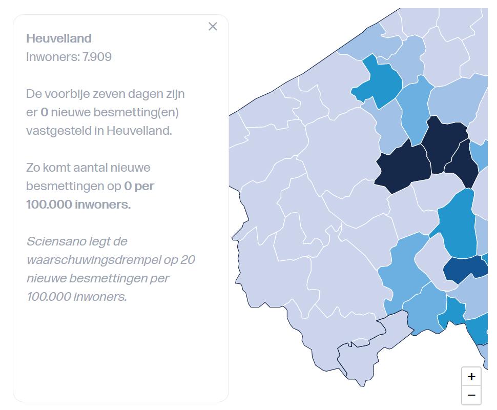 Aantal besmettingen in de afgelopen week (27/7/2020) in Heuvelland