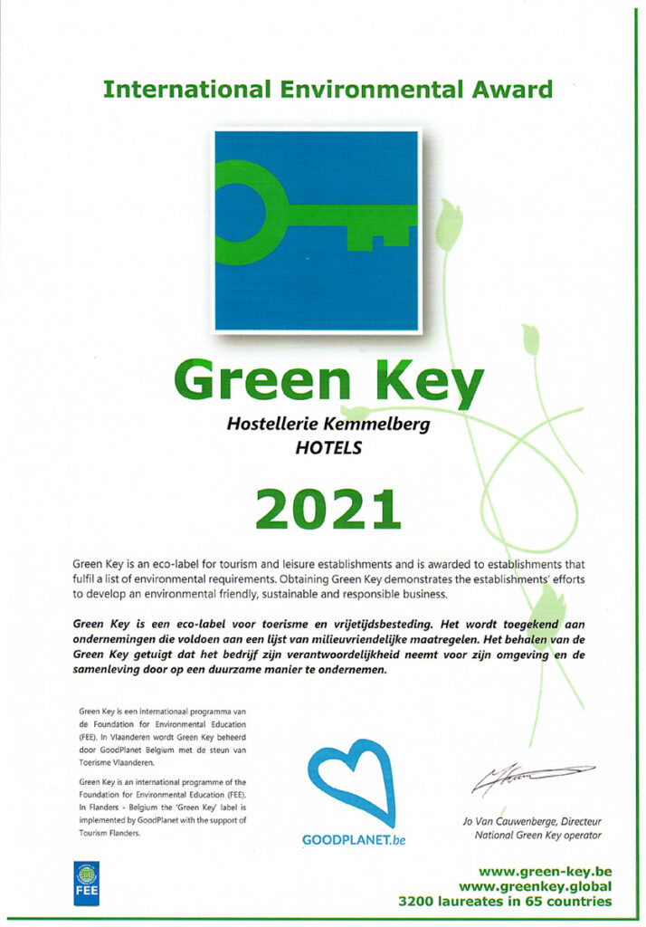 "Attest ""De Groene Sleutel"" 2021 van Hostellerie Kemmelberg ****."